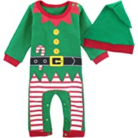 Mombebe Bambino Ragazzi Natale Pagliaccetto Neonato Elfo di Natale Costume con Cappello