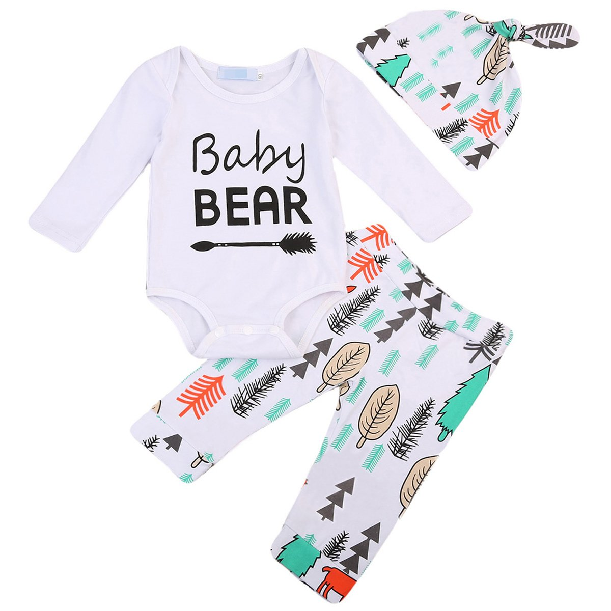 Baby Boys Girls Baby Bear Arrow Long Sleeve Bodysuit and Jungle Pants Outfit with Hat