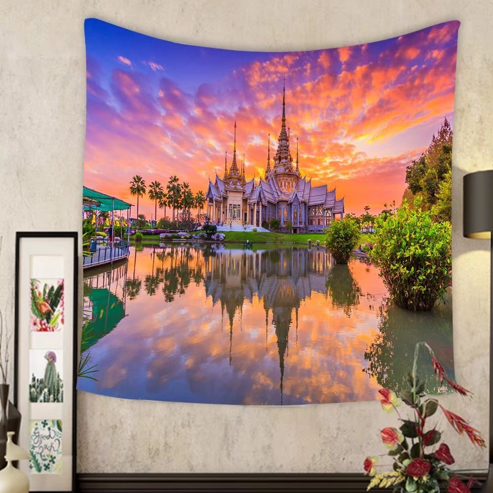Keshia Dwete Custom tapestry landmark wat thai sunset in temple at wat none kum in nakhon ratchasima province thailand by Keshia Dwete