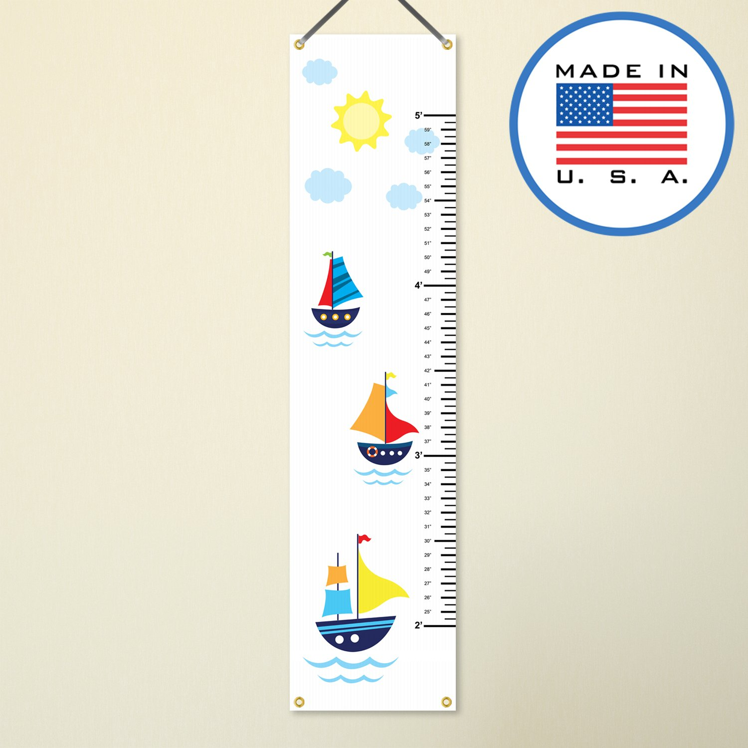 321Done Hanging Growth Chart, Sailboats Nautical Sailing Cartoon Boats, Baby Height Ruler, Premium Vinyl Nursery Wall Decor