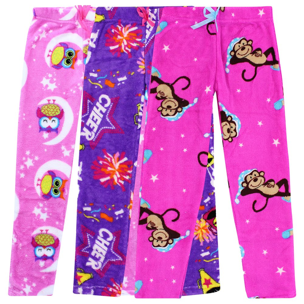 Totally Pink Pajama Bottoms for Girls - Pack of 3 in Animal, Cheer - Size 14/16