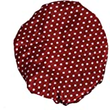 Generic Shower Cap Reusable Clear Satin - Red