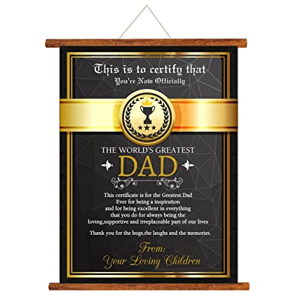 YaYa Cafe Fathers Day Greeting Cards Worlds Greatest Dad Certificate Message Scroll Card For Wall
