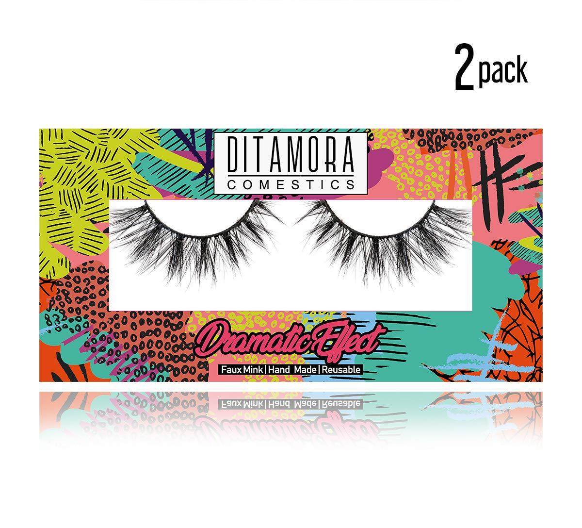6d269e21f54 Amazon.com : DITAMORA Fake Eyelashes Dramatic False Lashes Handmade &  Cruelty-Free Wispy Lashes for Makeup Cosmetic,D1 (2 Pairs) : Beauty