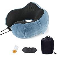 SenPuSi - Juego de almohada cervical de viaje, 100% espuma viscoelástica pura, con antifaz para dormir y tapones para…