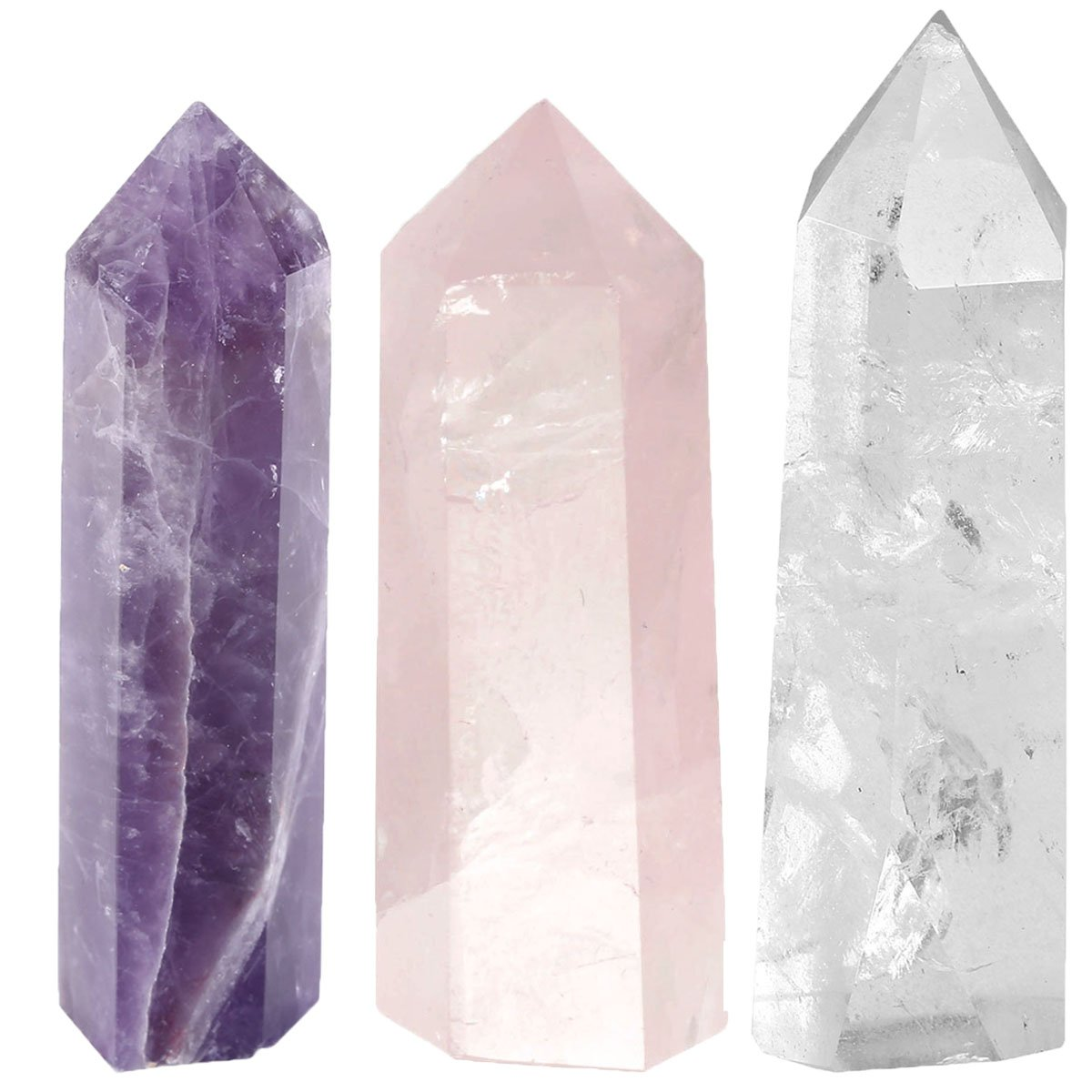 JSDDE 1.5-2'' Amethyst Rose Quartz Rock Crystal Quartz Specimen Tumbled Polished Healing Crystal Wands Point 6 Facet Reiki Chakra Meditation Therapy Stones