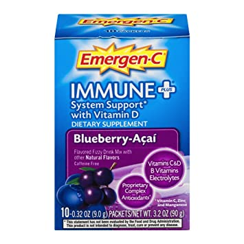 Emergen-C Immune+ (10 Count, Blueberry-Acai Flavor) System Support Dietary