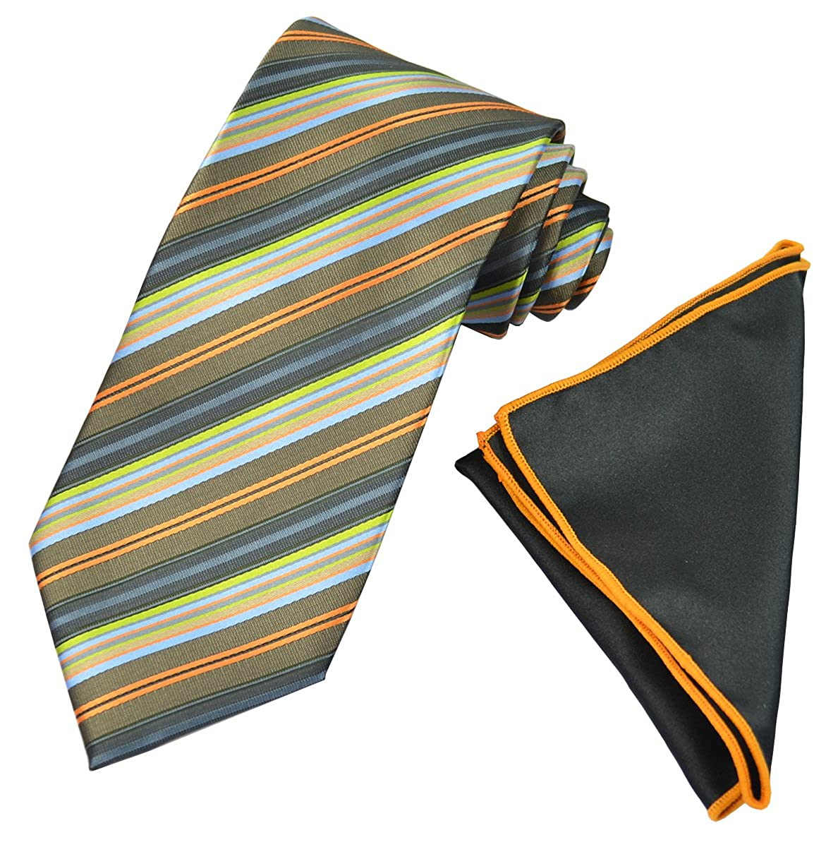 Olive Green Striped Mens Tie with Contrast Pocket Square Set