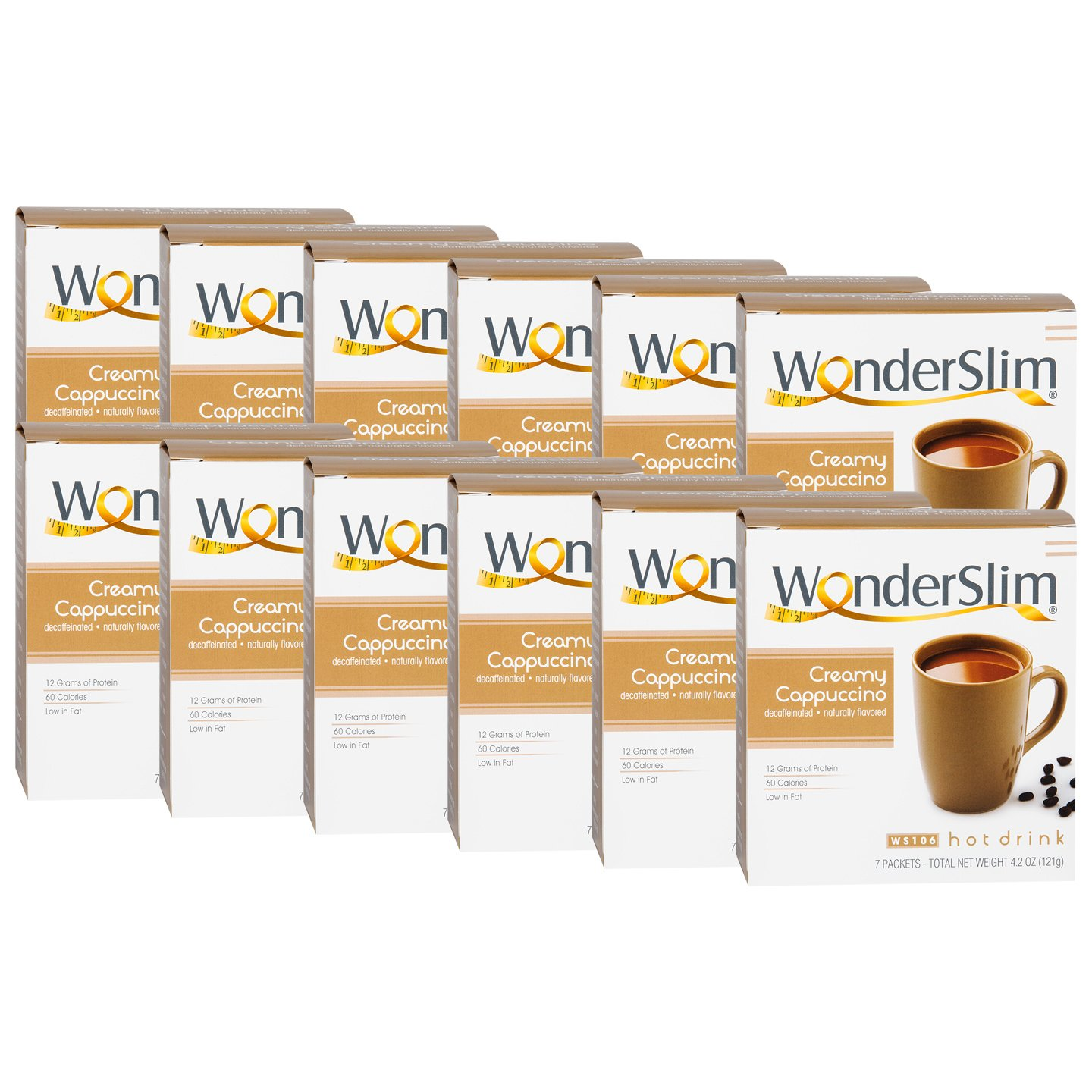 WonderSlim Low-Carb High Protein Diet/Weight Loss Instant Hot Drink Mix - Cappuccino (7 ct) 12 Box Value Pack (Save 15%) - Low Carb, Low Fat, Gluten Free by WonderSlim (Image #1)