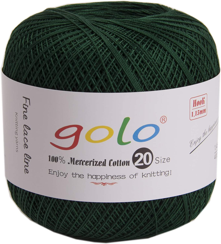 golo Cotton Crochet Thread Balls Size 10 Cotton Knitting Thread Yarn for Crochet (Peacock Green)