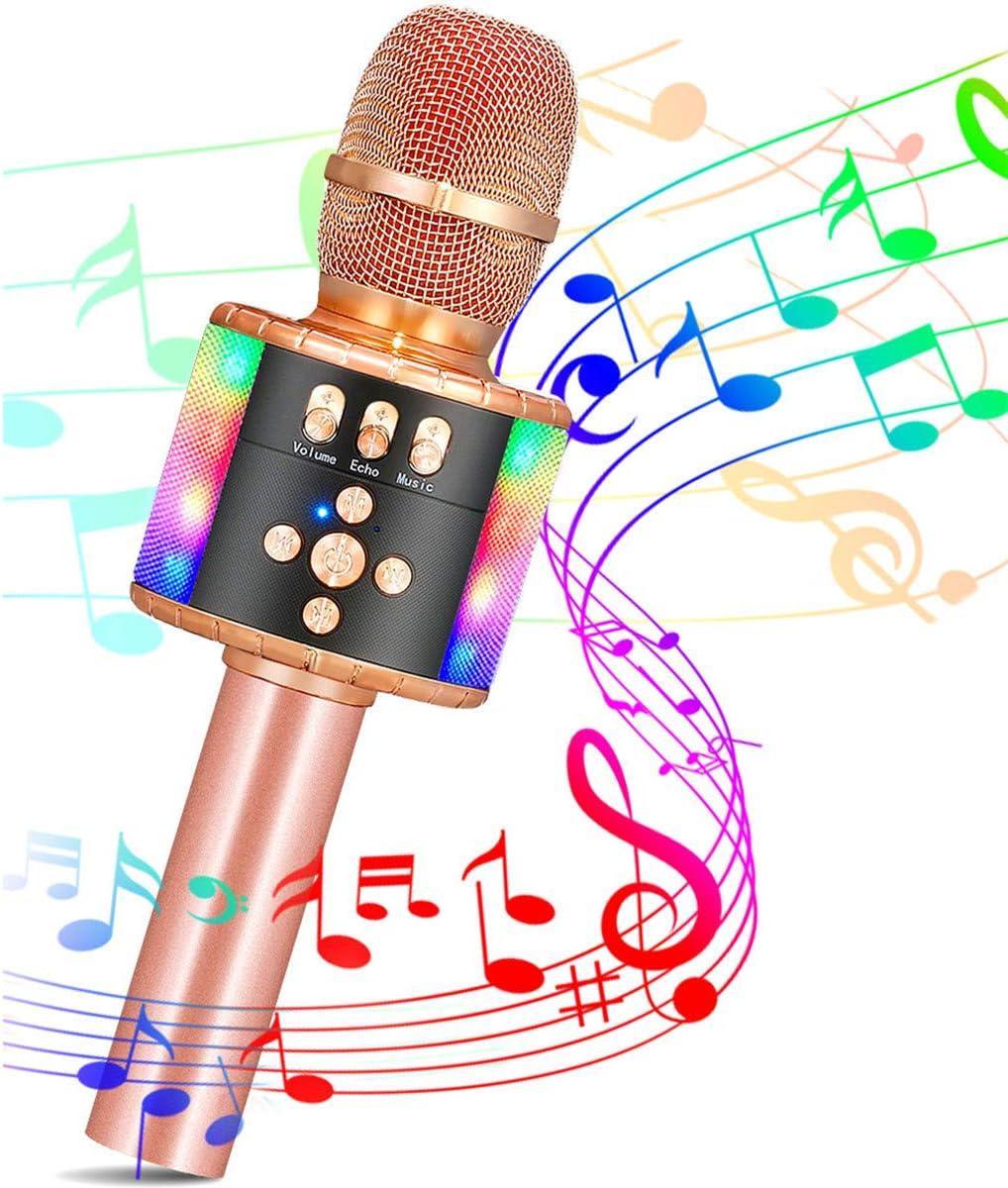 SGODDE Microfono Karaoke, Micrófono Karaoke Bluetooth Portátil, Microfono Inalámbrico Karaoke KTV con Luces LED de Baile, para Adultos y Niños, para Regalo/KTV/Fiesta, para Android/iOS/PC (Oro Rosa)
