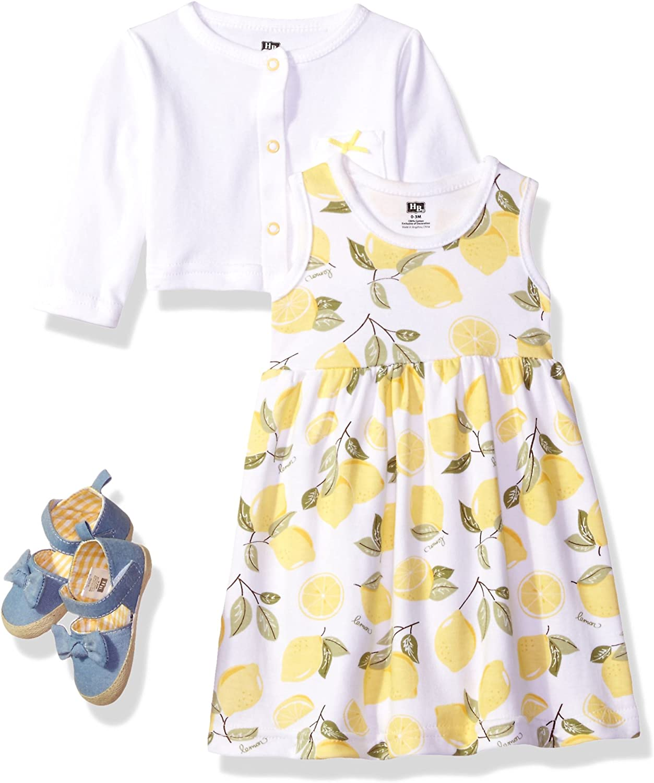 Hudson Baby Baby Girls' Cotton Dress, Cardigan and Shoe Set