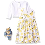 Hudson Baby Girls' 3 Piece Dress, Cardigan, Shoe Set, Lemons, 6-9 Months (9M)