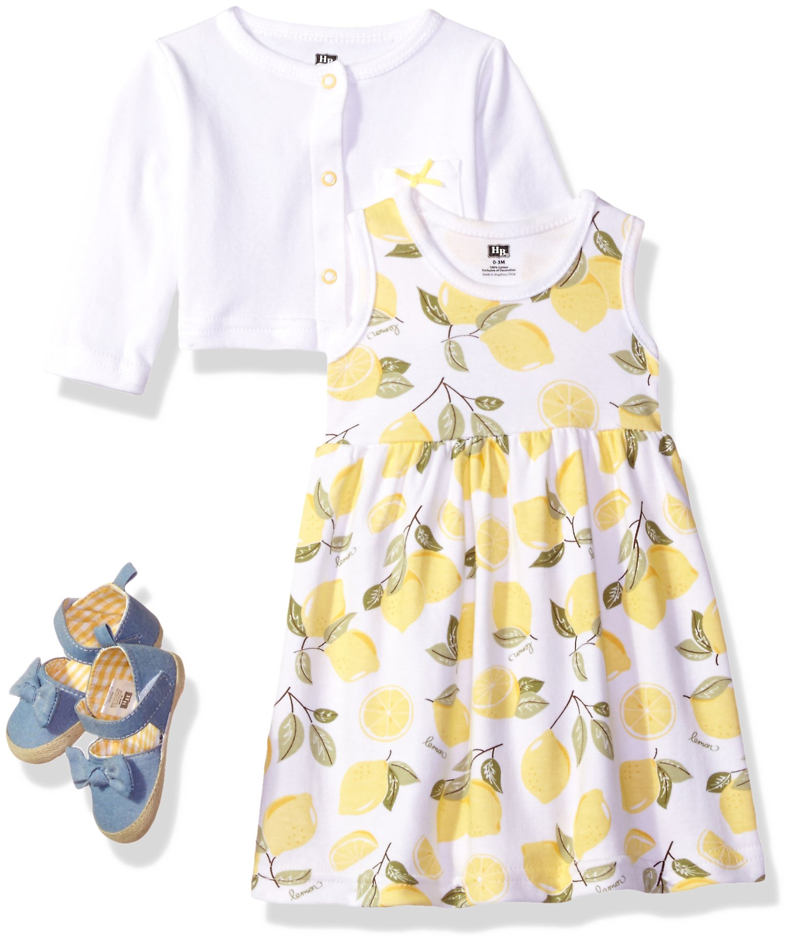 Hudson Baby Girls' 3 Piece Dress, Cardigan, Shoe Set, Lemons, 9-12 Months (12M)