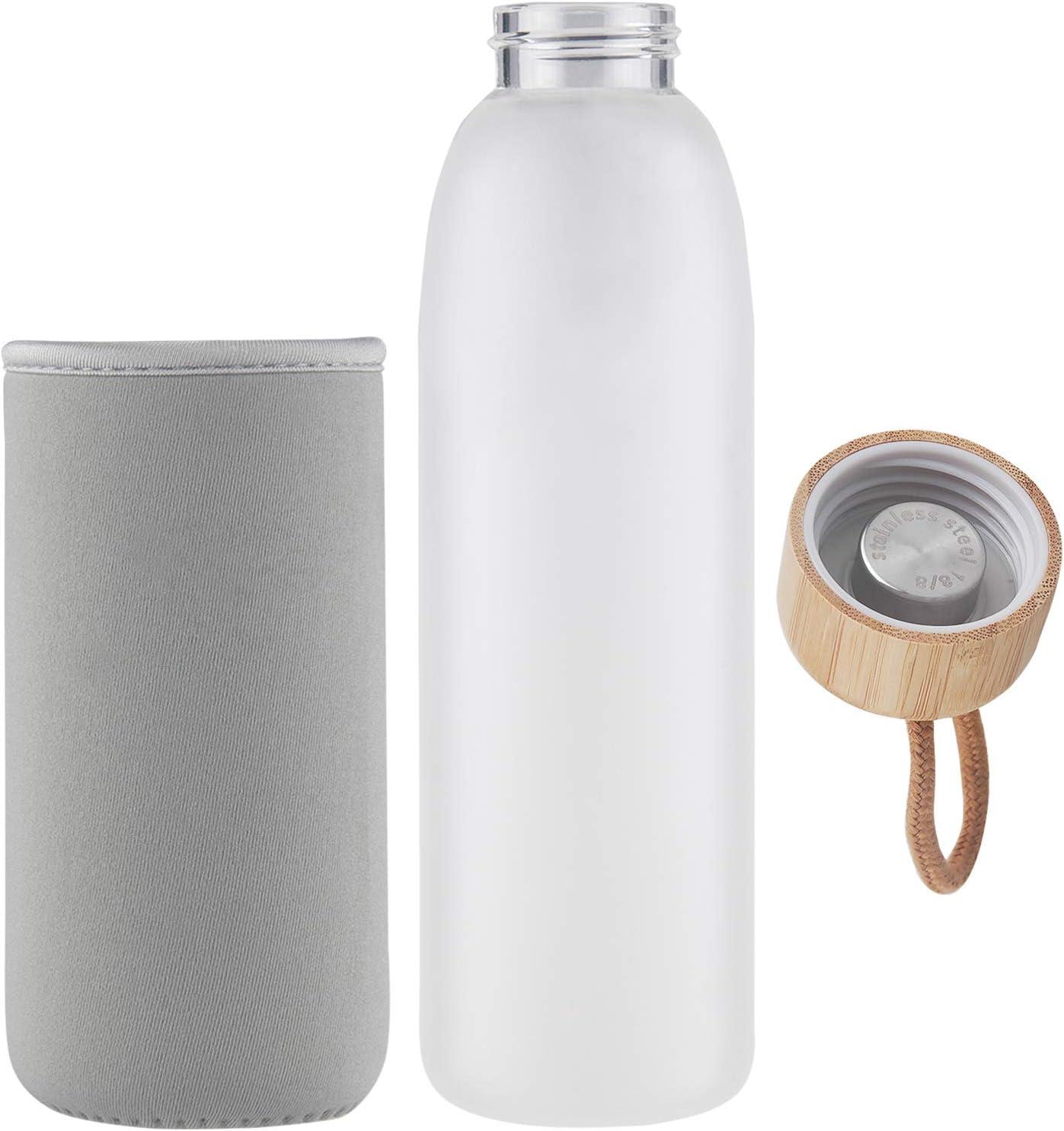 Life4u Botella de Agua de Cristal de Borosilicato de con Funda de Neopreno Sin BPA 500 ml 1000 ml