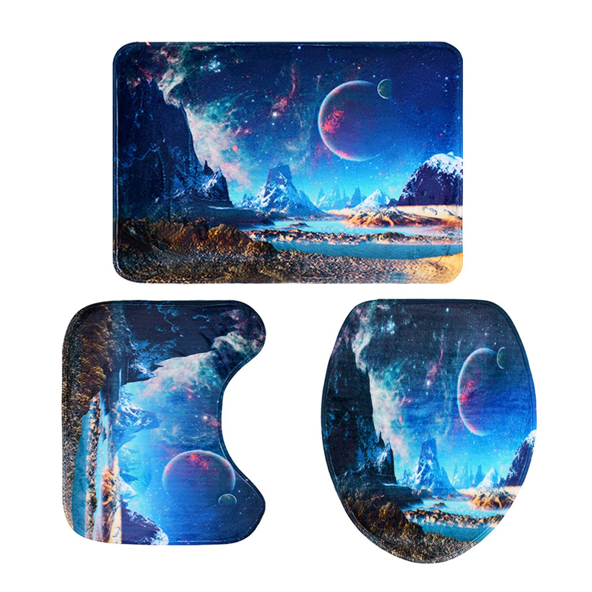 YoungRich 3 Pieces Bathroom Rug Mat Non Slip Bath Mat Rug Set (Bathroom Carpet + Pedestal Rug + Toilet Seat Cover) Flannel Starry Sky Painting for Living Room Bedroom Toilet Swimming Pool Washable