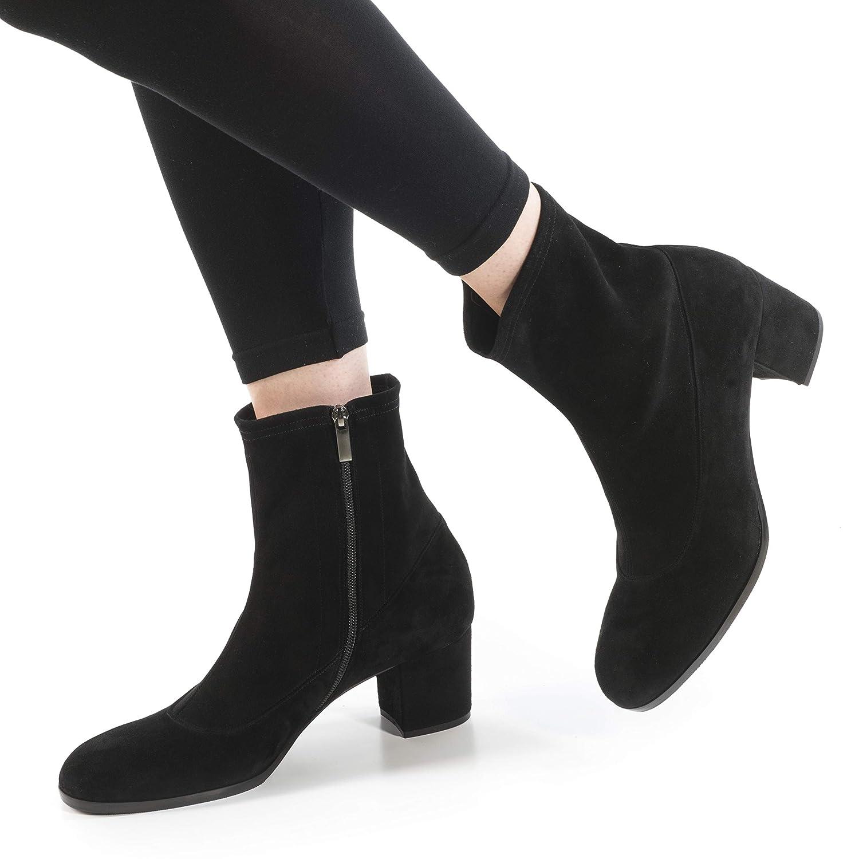 42+ Damen Stiefel Giulia Suede Stiefeletten Stiefeletten Stiefeletten Nubuk schwarz mit Blockabsatz 6 cm Reissverschluss 255f0f