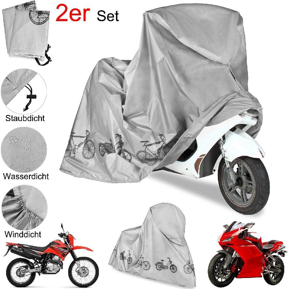 2er Set Motorradabdeckung Abdeckplane Fahrrad Roller Moped Abdeckung Garage Plane Schutzhülle Wasserdicht Winddicht Staubdicht Auto