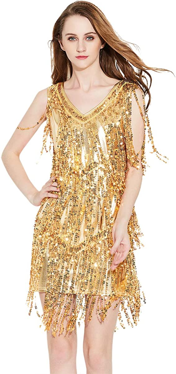 ZX 1920s Inspired Sequin Fringe Sleeveless V Neck Flapper Party Dance Dress 4 Pieces Outfits (7 Colors): Clothing