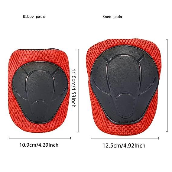 ABS Protections de Skateboard Kneepads Genouillère Coudières Protège Poignet Sport Equipement Patinage 6 PCS pour enfants - rouge: Amazon.es: Jardín