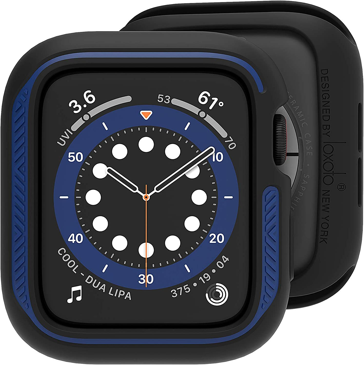 Compatible for Apple Watch Case 44mm, Loxoto Bicolor Bumper Case Cover Protective Drop Shock Resistant Case TPU Flexible Cover Fit for iWatch 6/SE/5/4 Stylish Design for Men Women (Black & Navy)