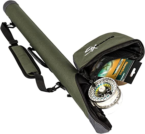 X-Small Sage GreenGrey Snowbee  Double Travel Reel Case Fly Rod