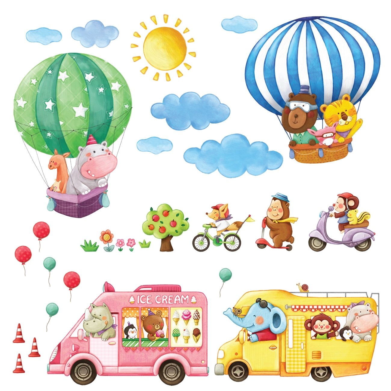 Decowall DA-1406A Animal Trains Kids Wall Stickers Wall Decals Peel and Stick Removable Wall Stickers for Kids Nursery Bedroom Living Room