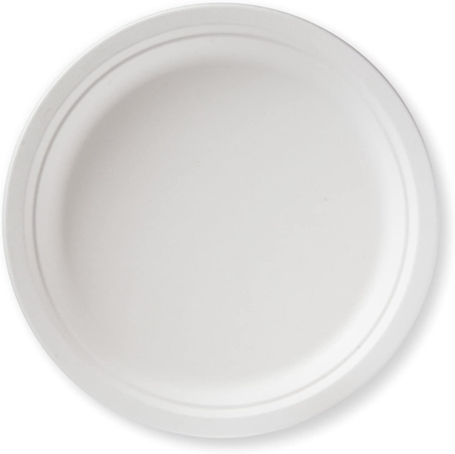 """Susty Party Supplies BP-10-50CT 50 Count 100% Compostable Sugar Cane Heavy Duty Plate for Dinner, 10"""", White"""