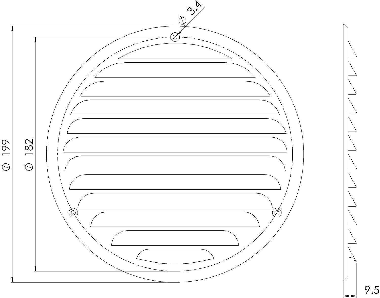 Grille da/ération ronde en m/étal gris /Ø 160 mm Dimensions ext/érieures 200 mm