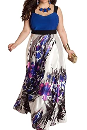 Vosujotis Women Elegant Dress Floral Tunic Plus Size Prom Dress: Amazon.co.uk: Clothing