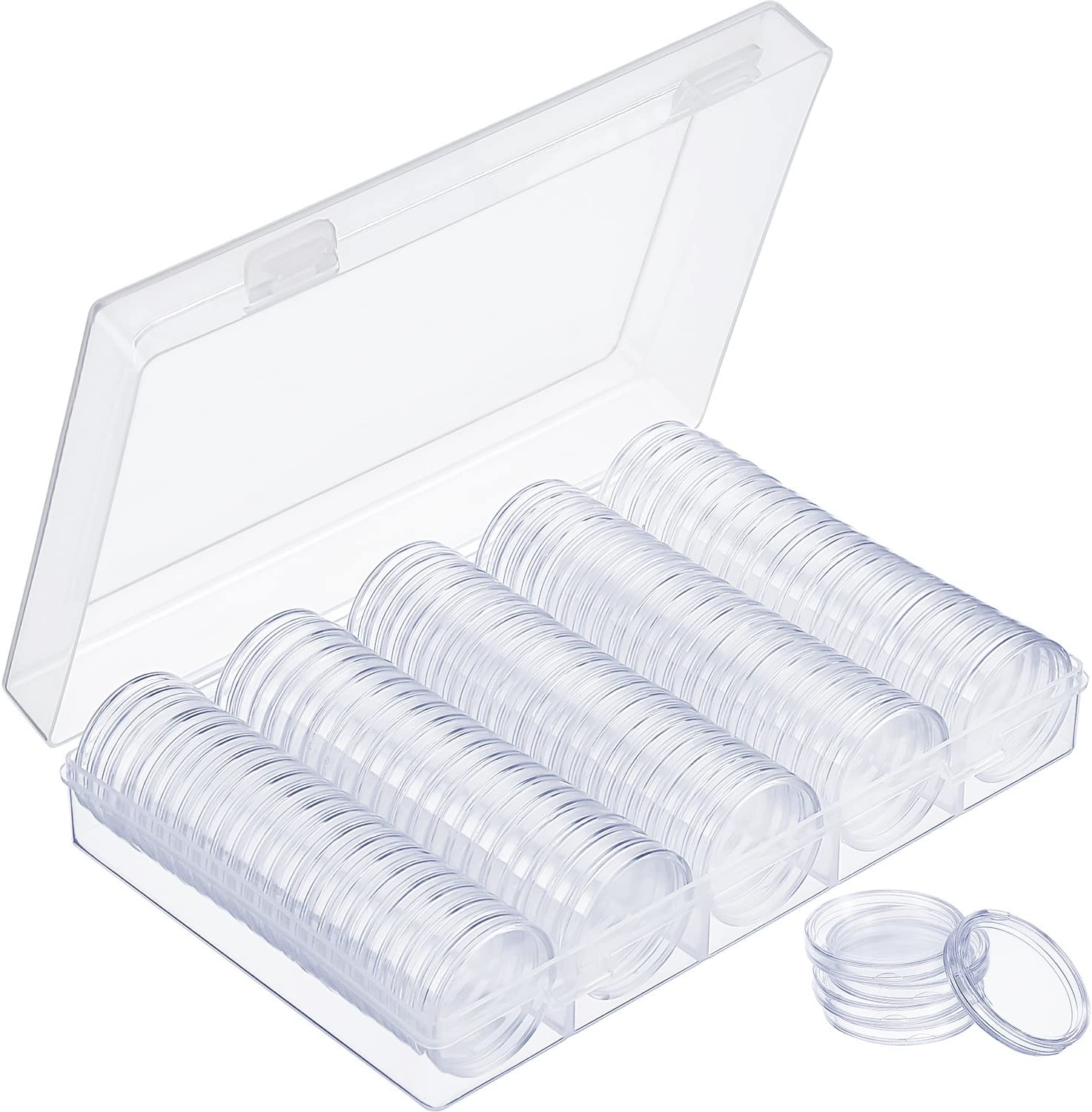 100 Clear Plastic Round Coin Display Capsules Holders Collect Box Containers