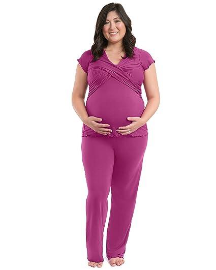 Kindred Bravely Davy Ultra Soft Maternity & Nursing Pajamas Sleepwear Set (Berry, X-Small)