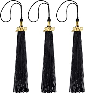 WILLBOND 3 Pieces Graduation Tassels Single Color Cap Tassels with 2020 Gold Date Charms (Black)