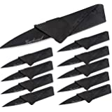 Garberiel 10 Pack Credit Card Knife Multifunction Folding Blade Knives, Black Stainless Steel Blade and Plastic Handle Mini P