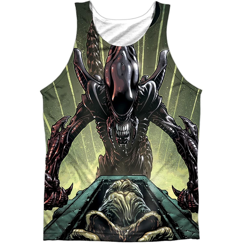 Alien Horror SciFi Movie Comic Book Egg Collection Front Print Tank Top Shirt