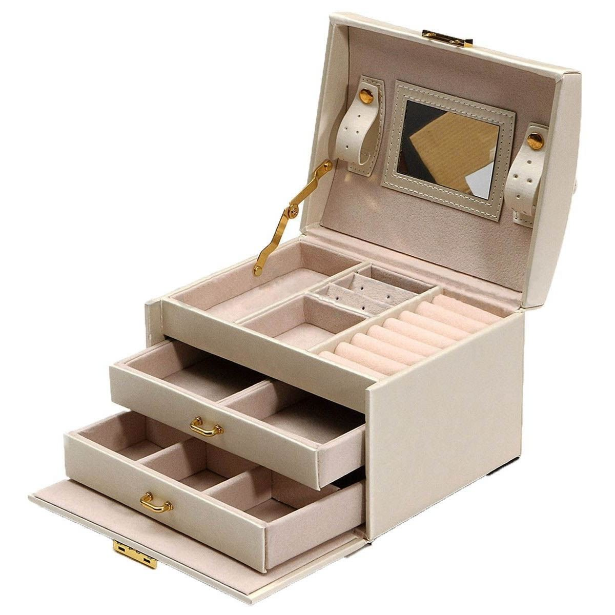 SODIAL(R) Large Jewellery Box Armoire Dressing Chest with Clasps Bracelet Ring Organiser
