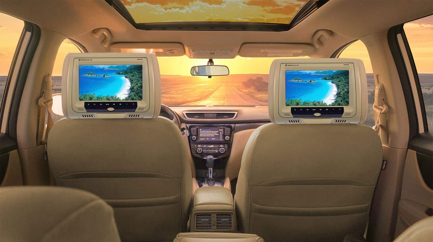Rockville New 9'' Beige Car DVD/USB/HDMI Headrest Monitors+Video Games (RDP931-BG) by Rockville