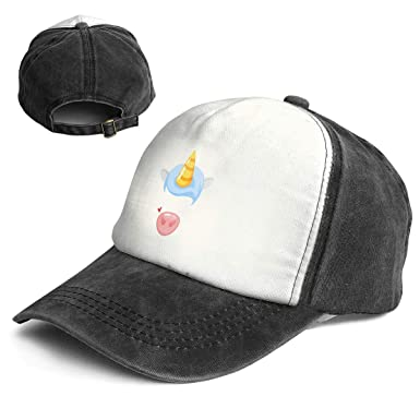 30008c6780195 Amazon.com  Cartoon Style Cute Unicorn Pig Trend Printing Cowboy Hat  Fashion Baseball Cap for Men and Women Black and White  Clothing