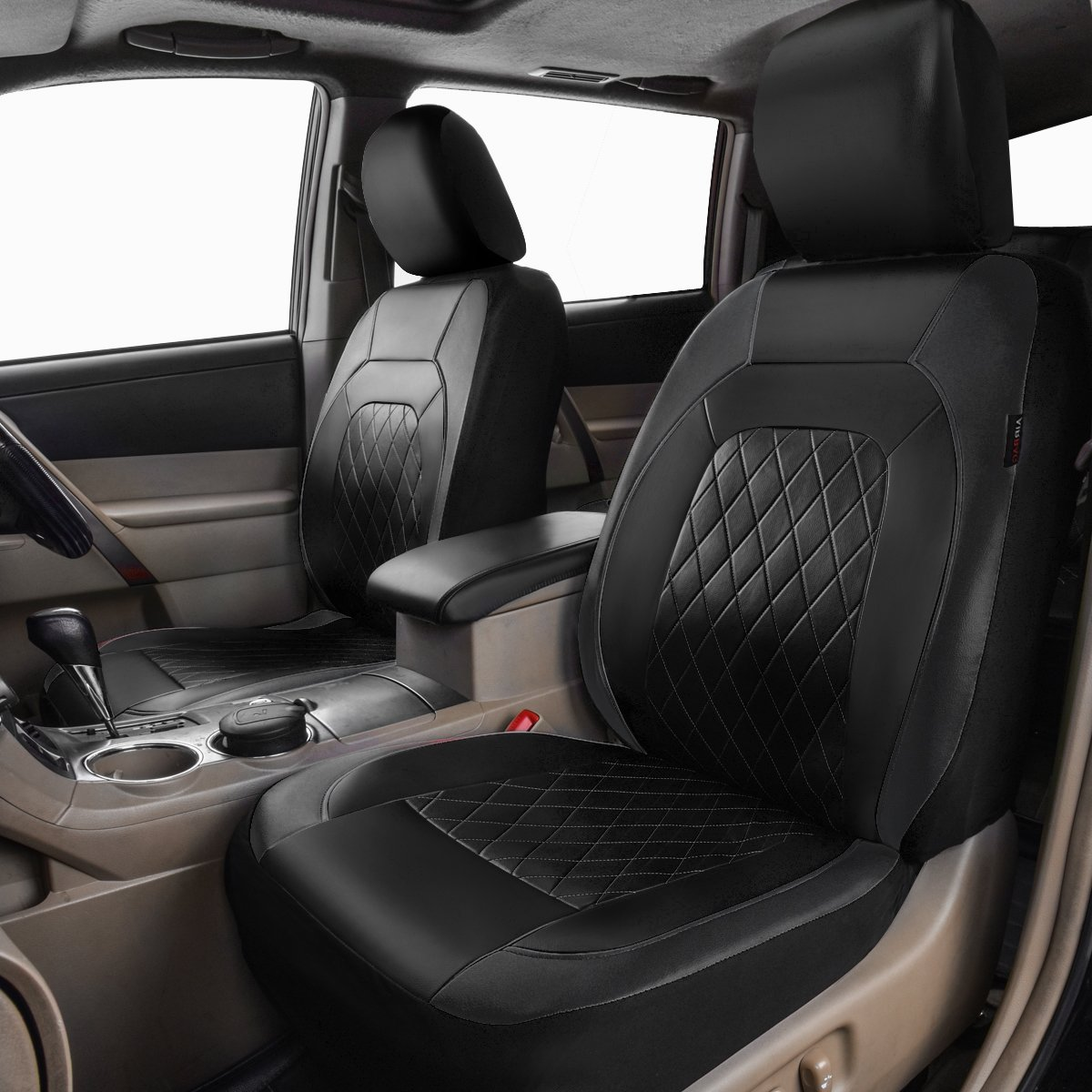 HORSE KINGDOM Universal Car Seat Covers Faux Leather Full Seat 11 pcs Airbag Compatible Breathable Black Gray