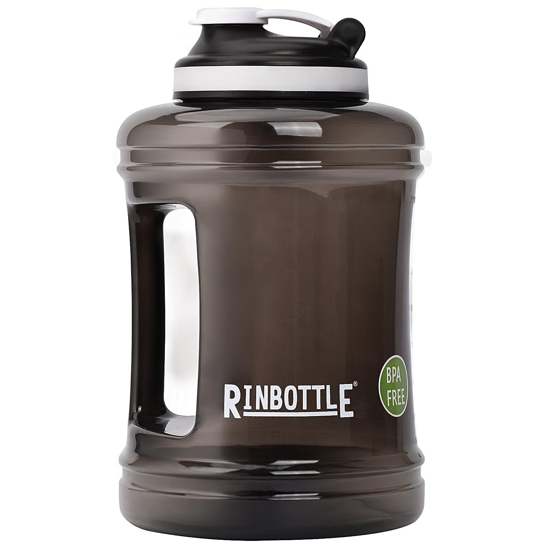 RINBOTTLE Big Kapazität 2,5 l Sport Trinkwasser-Flasche Klar, BPA-frei Krug Behälter für Fitnessstudio, Outdoor Sport, Wandern, Bodybuilding, Fitness