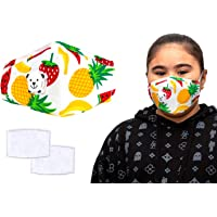 3 PCS Reusable Cotton Kids Dust Mask/Face Mask, Reusable Kids Colourful Face Masks, Comes With Replaceable Filters and Respiratory Valve, Activated Carbon Filter Travel Outdoor Cycling Ski Warm Face Mask for Home, Comes in Bright Beautiful Colours.(Package Includes 1x Colourful Fruit Mask & 2x Replaceable Filters))