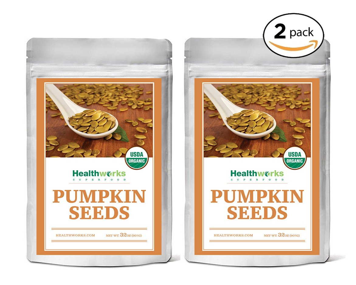 Healthworks Pumpkin Seeds Shelled Organic, 4lb (2 2lb Packs)