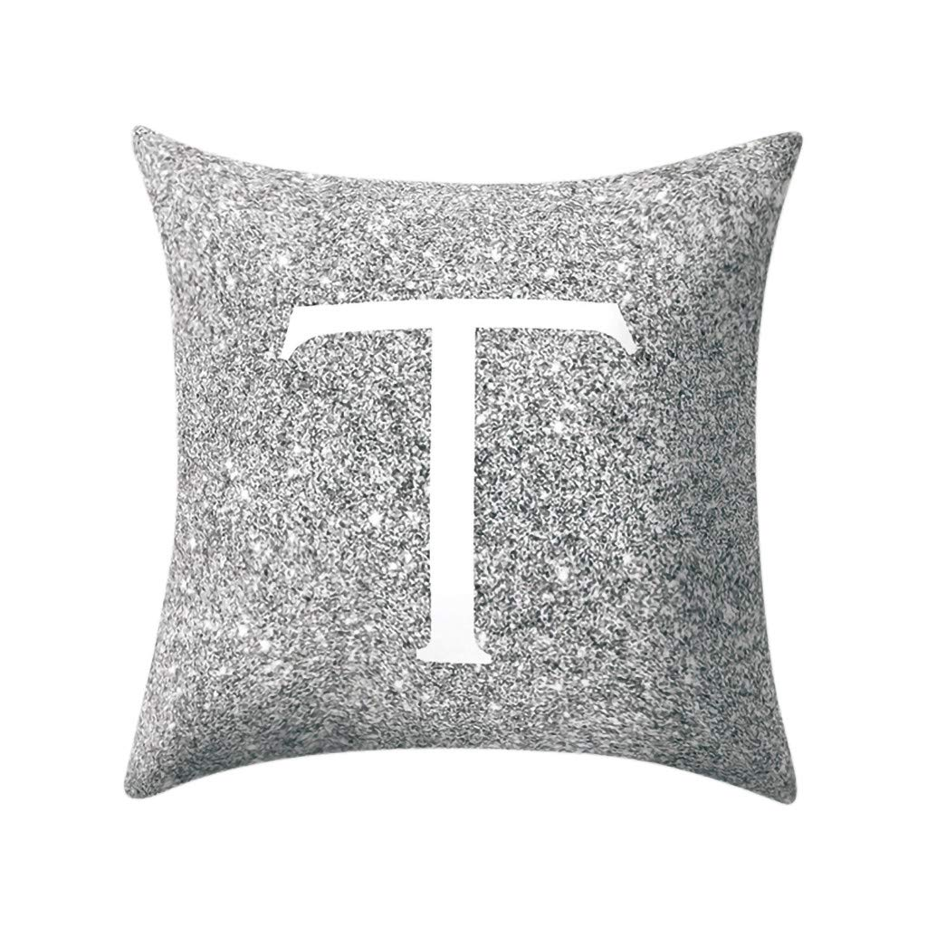 Letter Pillow Case Covers Metallic Throw Pillow Case 18x18'' A-Z Letter Alphabets Cushion Cover Polyester Pillowcase for Home Sofa Couch Decor (T)