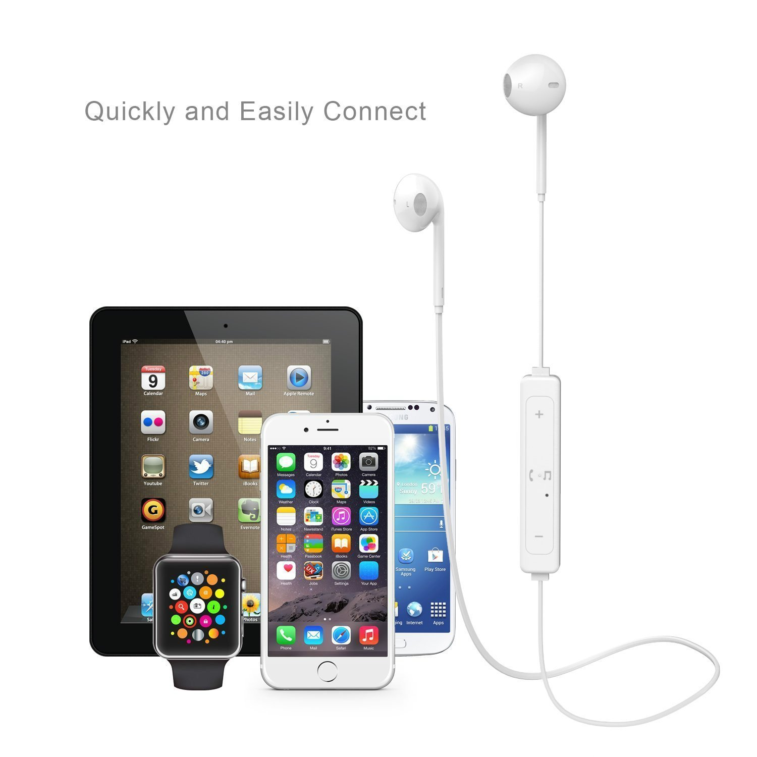 Auriculares Bluetooth, auriculares inalámbricos deportivos estéreo para smartphones Apple iPhone 7, Plus, 6s y Samsung, de color blanco: Amazon.es: ...