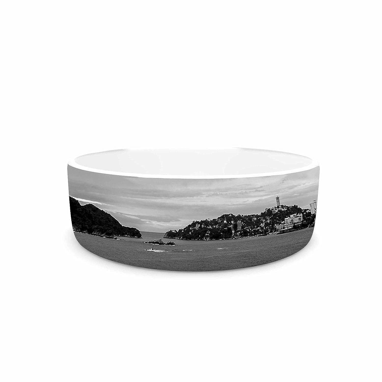 KESS InHouse Nick Nareshni Deep Cloudy Ocean Black White Photography Pet Bowl, 7  Diameter