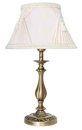 Premium lámpara de mesa de latón bronce blanco estilo ...