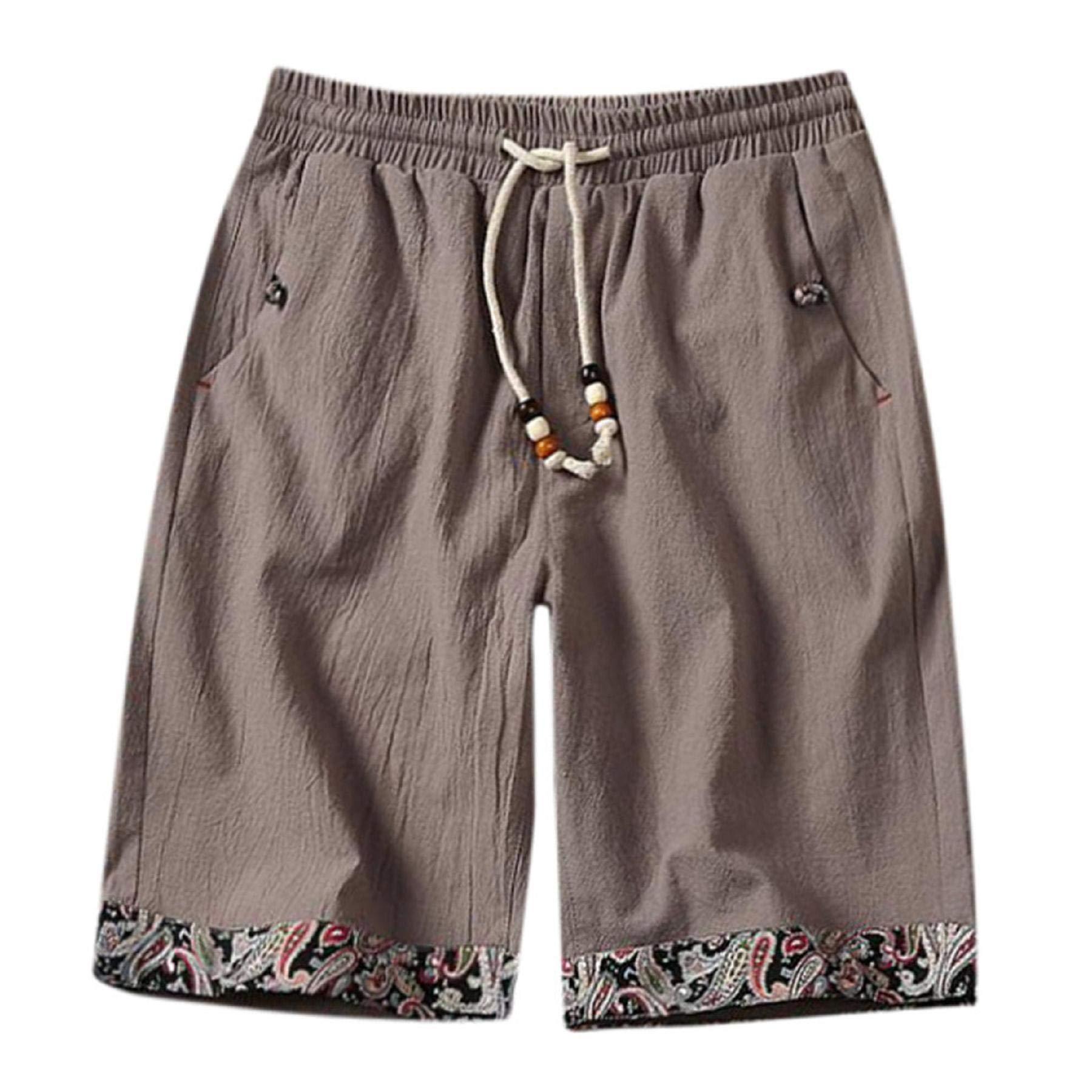 ANKOLA SHOPPING Mens Shorts, Summer Loose Men Drawstring Casual Beach Work Cotton Linen Short Pants Print Hem with Pocket Gray