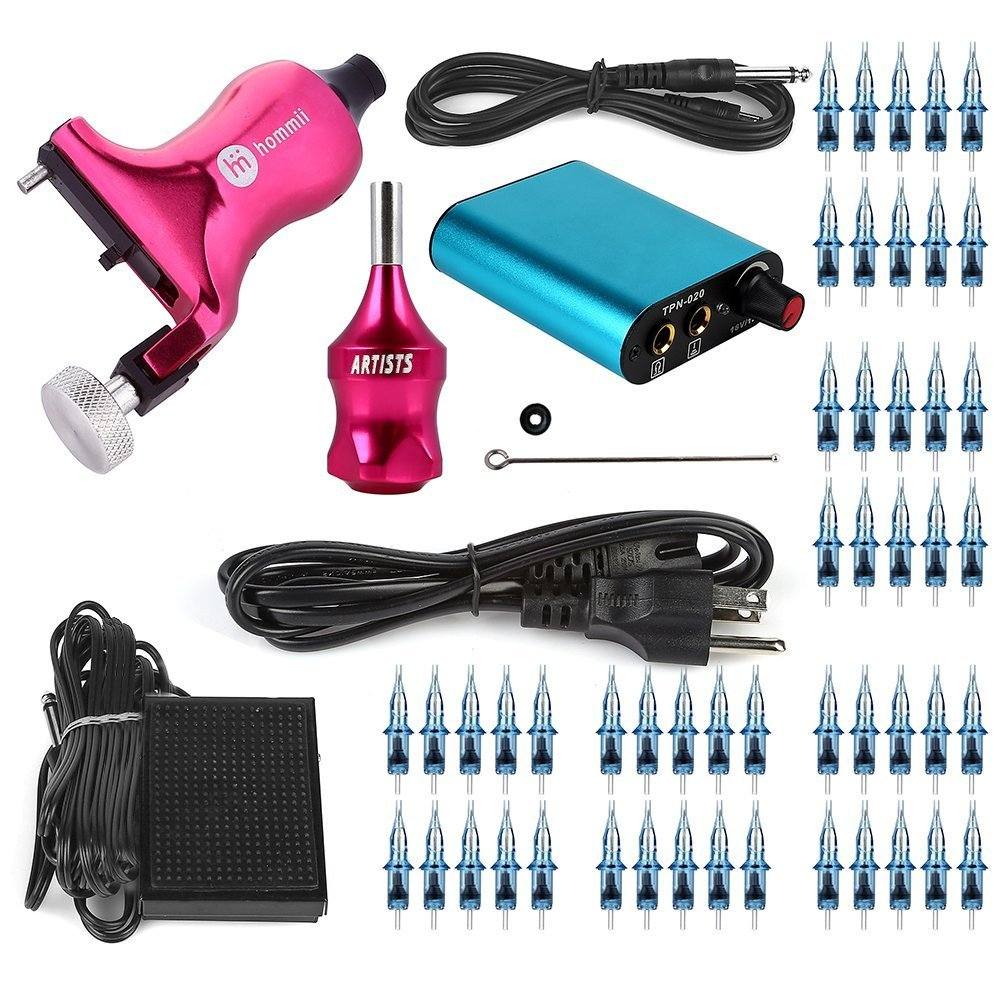 Hommii Professional Rotary Tattoo Machine Kit Gun Stroke Length 3.5mm, 7-10V For Liner and Shader Machine + Power Supply and Foot Pedal + 50 pcs. Sterile Disposable Tattoo Needles 1, 3, 5, 7, 9 RL
