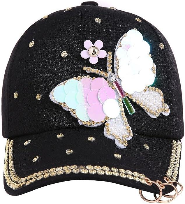 9470616ad Women's Baseball Hats Rhinestone Butterfly Decoration Adjustable Caps