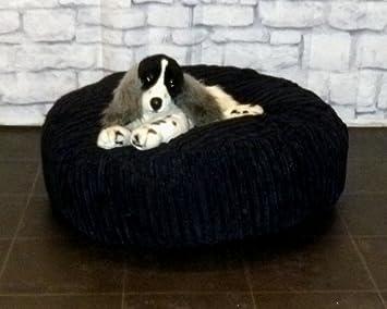 Zippy - Puf redondo para mascota, cama de perro de 76,2 cm de diámetro, tela de cordón de color negro: Amazon.es: Productos para mascotas